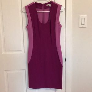 DVF sleeveless purple sheath dress